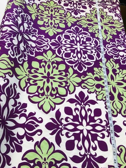 purple/green block print all over