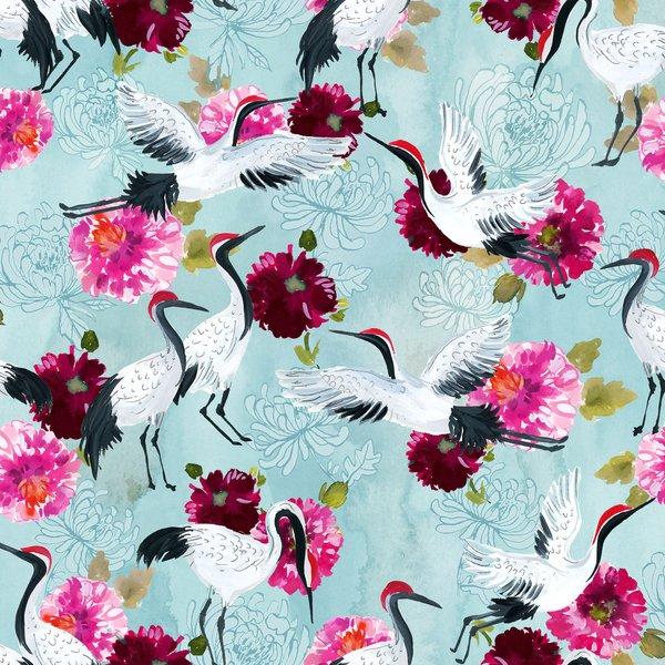 Cranes w/flowers