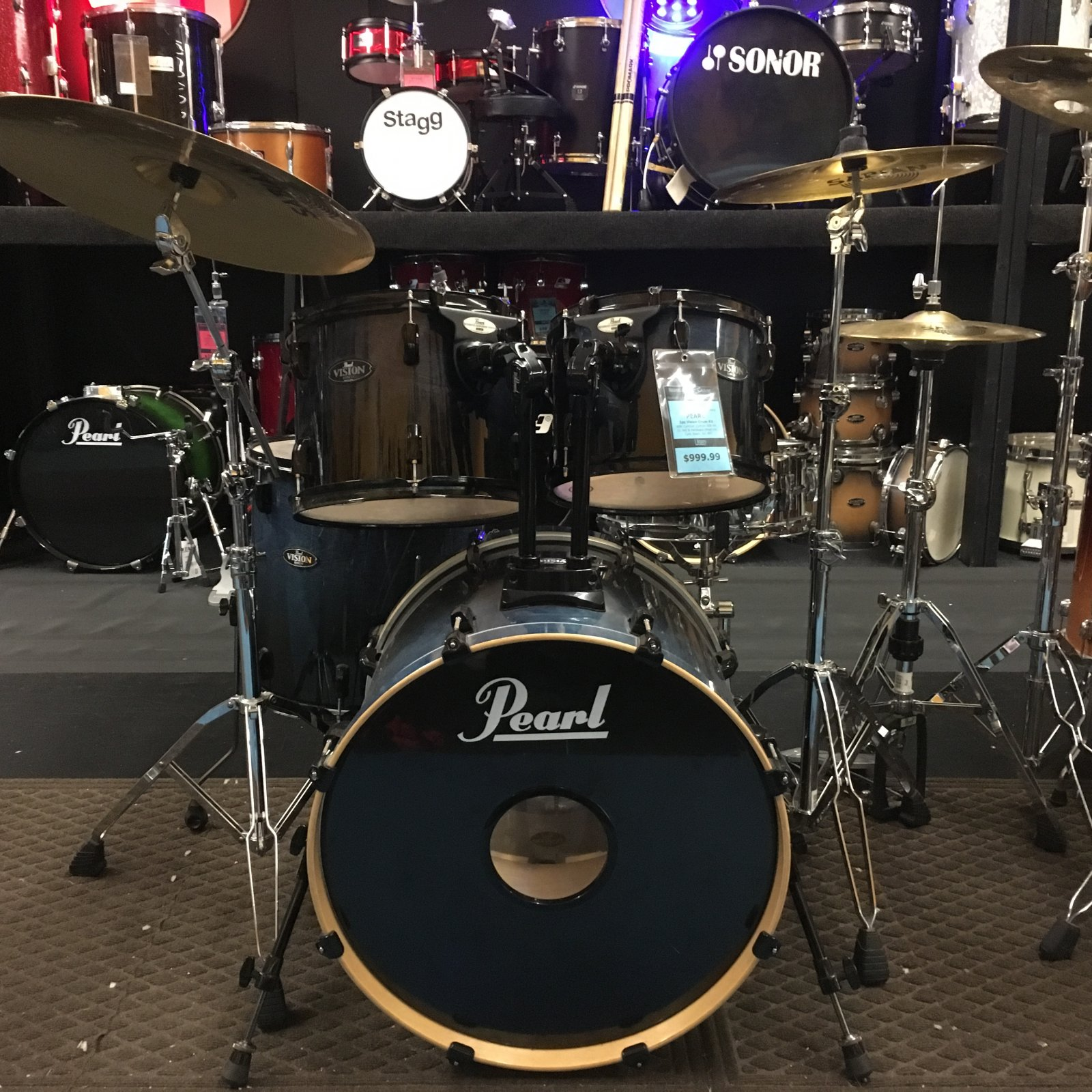 USED Pearl Vision 5pc Drums