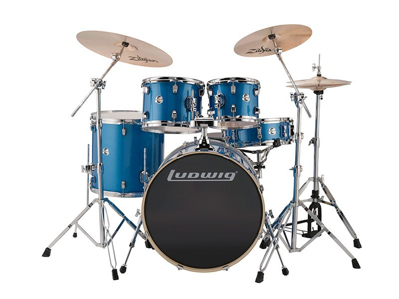 Ludwig 22 Element Evolution 5pc Drum Kit with Zildjian Hardware, Cymbals, & Throne LCEE22023 Blue Sparkle