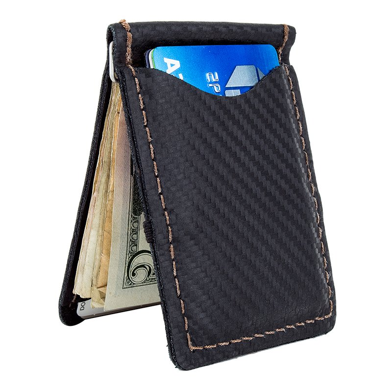 Lizard Skin Wallet Carbon Leather Black