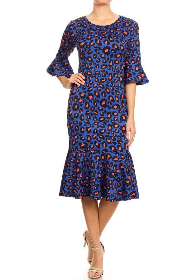 Avital Bright Animal Print Dress