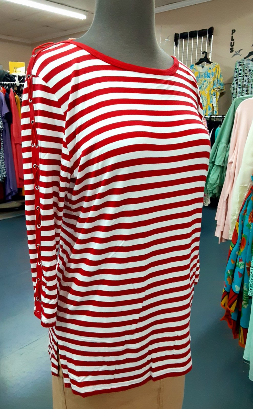 Red & White Stripe Top KH