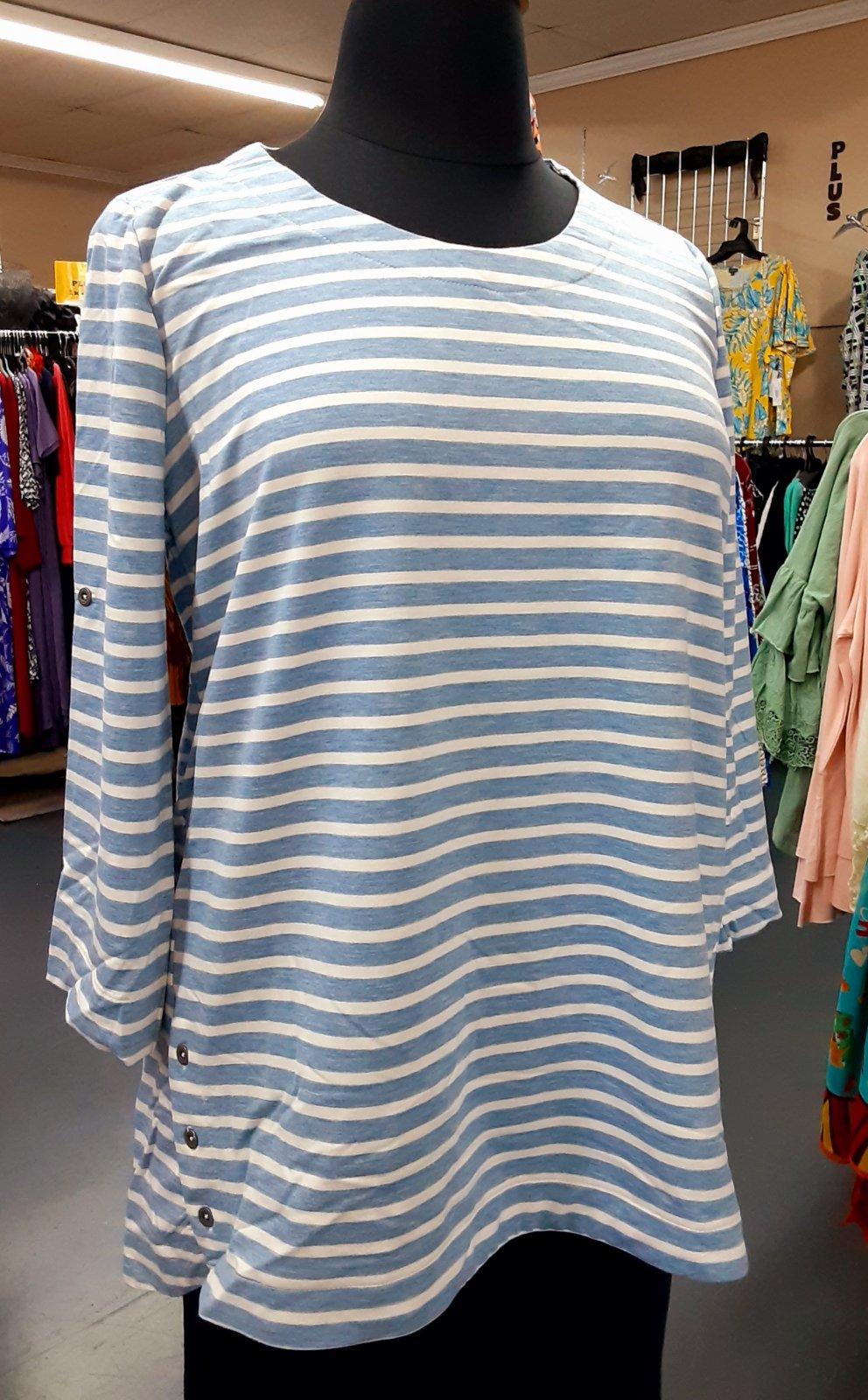 Plus Blue/White Stripe Top KH