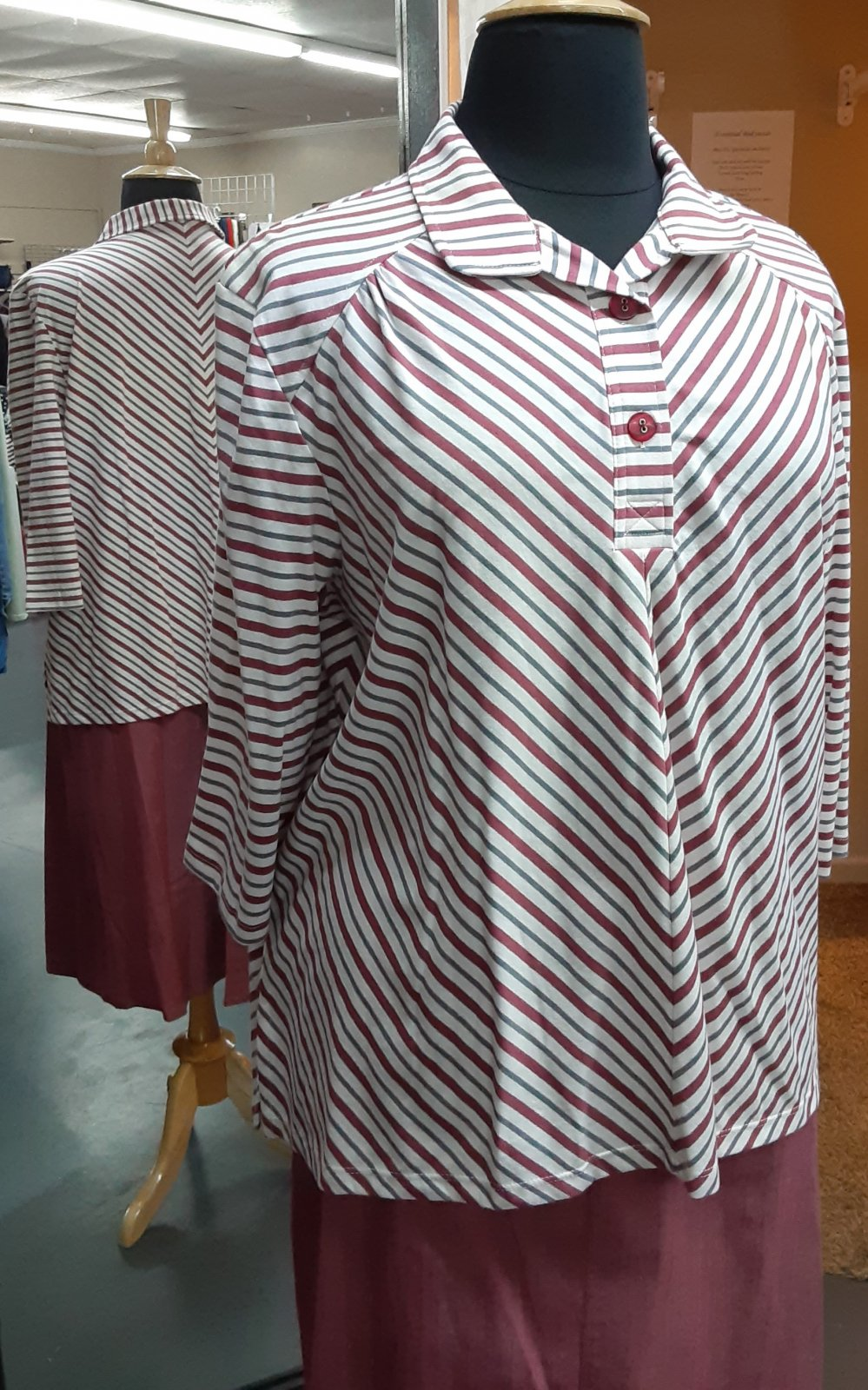 Plus Stripe Top with Collar SL