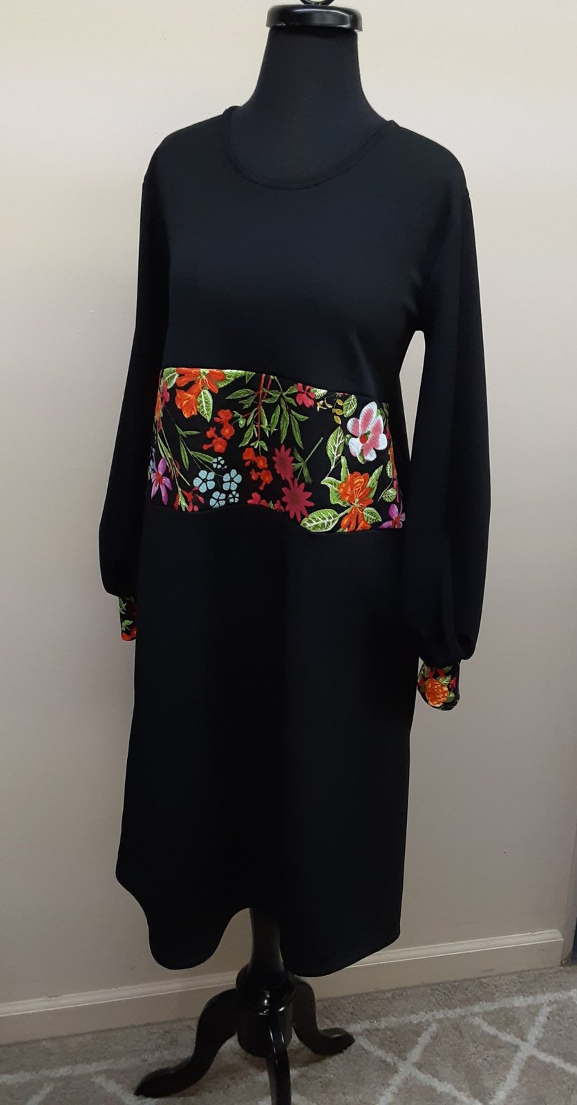 Black and Floral Midi Dress, Shane Lee