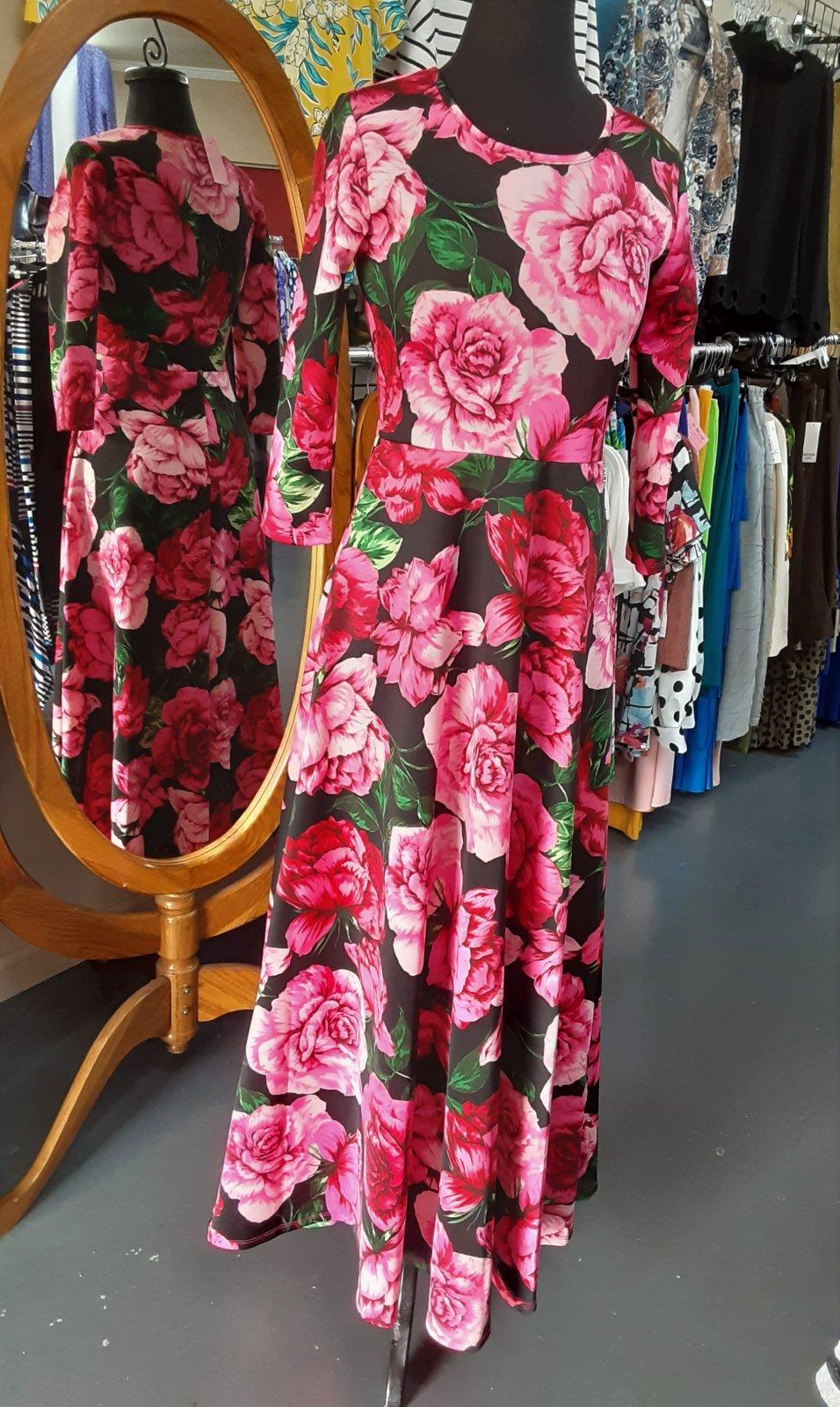 Avital Pink Roses Maxi Dress