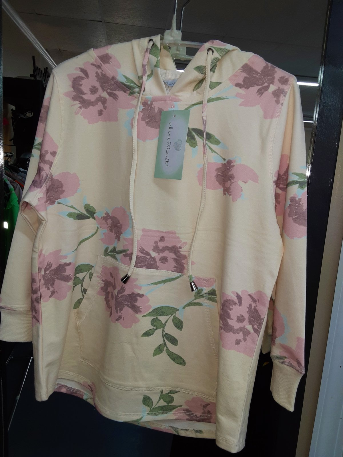 Cream and Blush Floral3/4 Sleeve Hoodie, KH