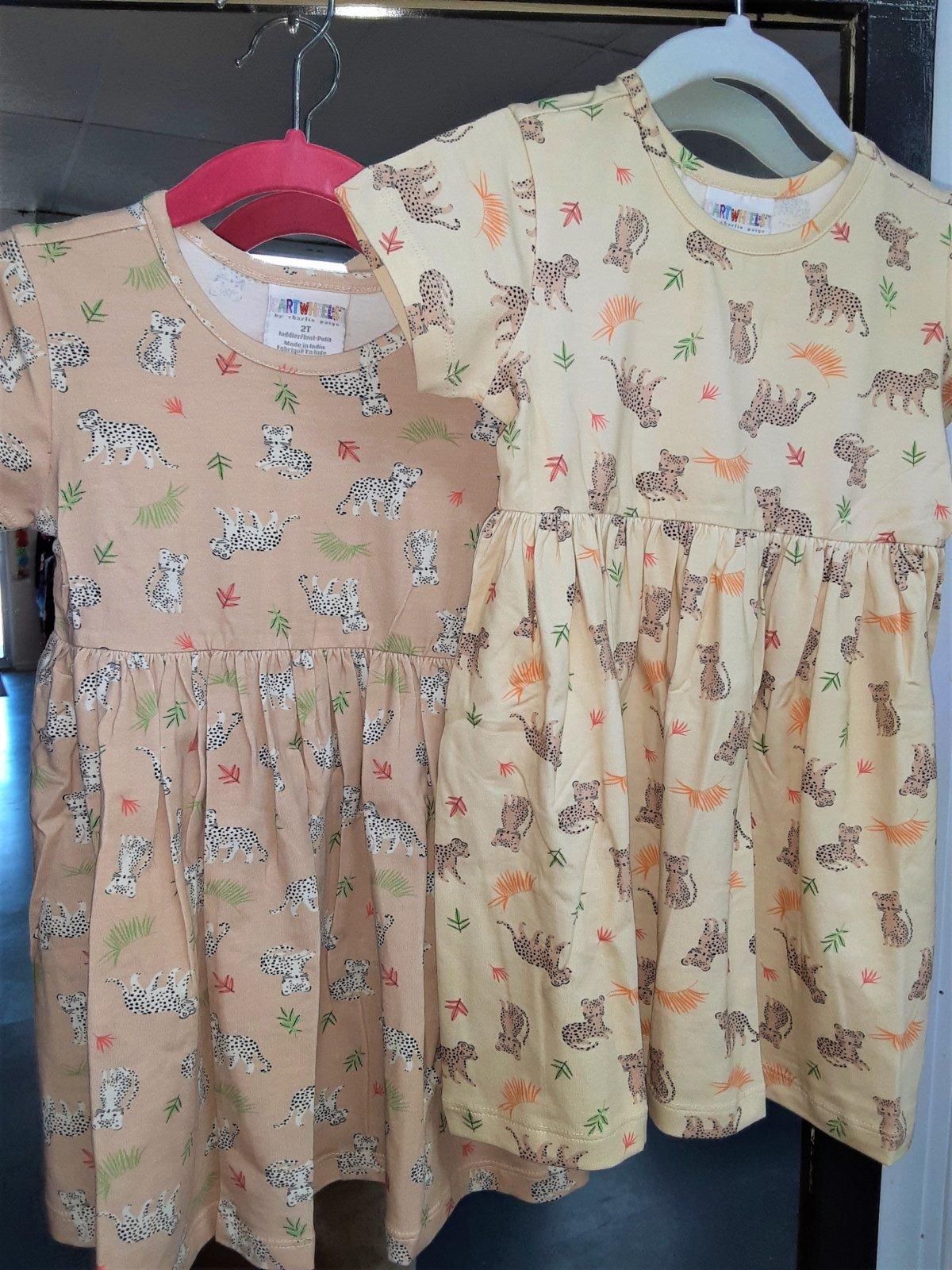 Toddler Dress Ivory w/leopards