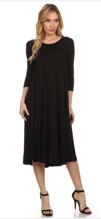 Moa Black Midi Dress