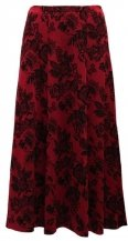 Plus Size N Touch Gored Skirt, Red and Black