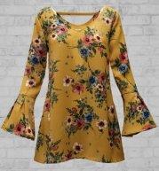 742 mustard floral tunic