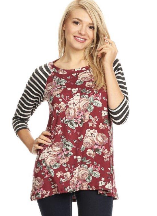 Moa Floral/Striped Baseball T-Shirt, Burgundy