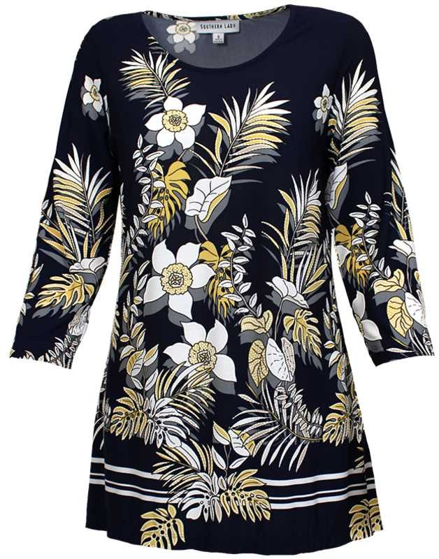 N Touch Navy Print Floral Top