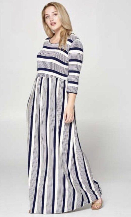 Plus Navy Stripe Maxi Dress