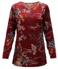 Plus Size Southern Lady Foral Top with Key Hole, Wine