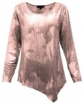 Plus Size N Touch Cayli Foil Top, Pink and Silver