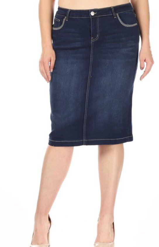 Plus Dark Wash Denim Midi Skirt
