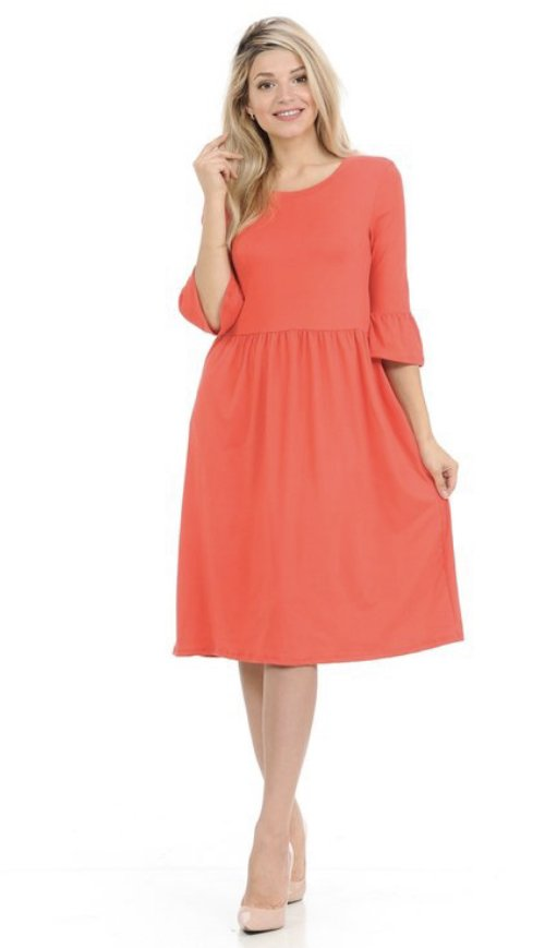 Coral Midi Dress Bell Sleeve