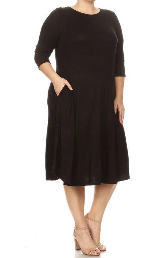Plus Moa Dress, Black pockets
