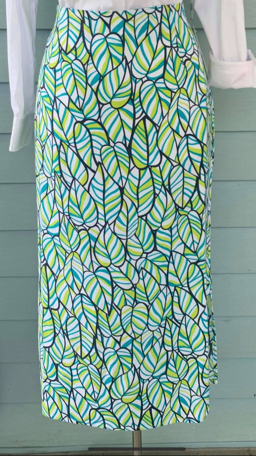 Leaf Print Straight Skirt
