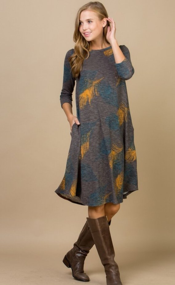 Plus Size Charcoal Leaf Printed Dress