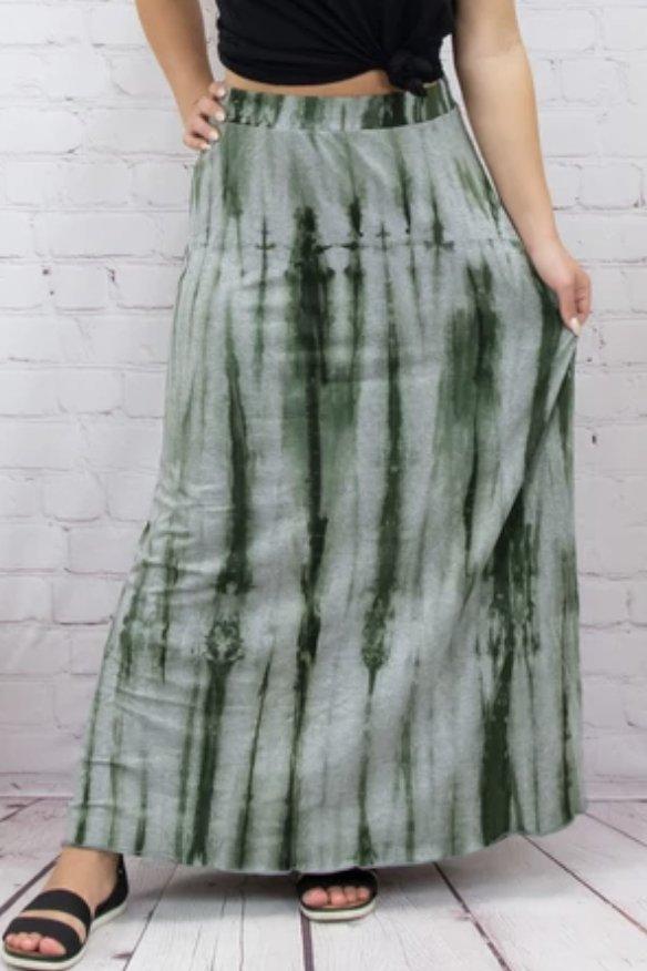 Olive Gr. splash print maxi skirt