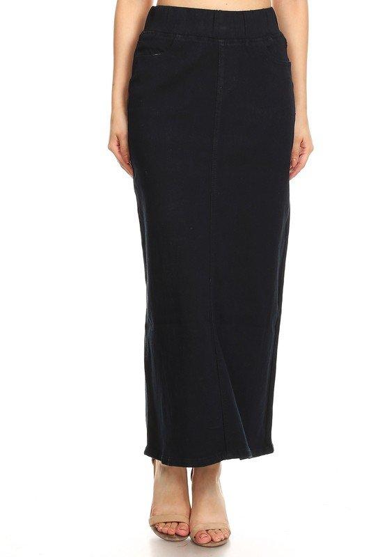 Dark Blue Straight Denim Skirt with Elastic