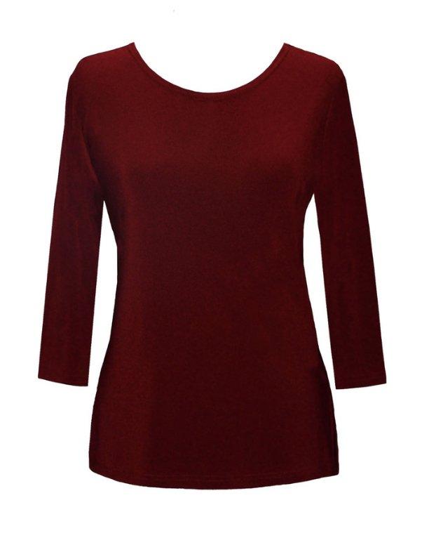 Valentina Solid 3/4 Sleeve Top, Burgundy