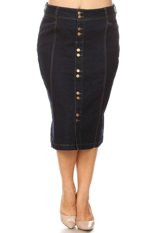 Plus Size Button Front Denim Skirt 30