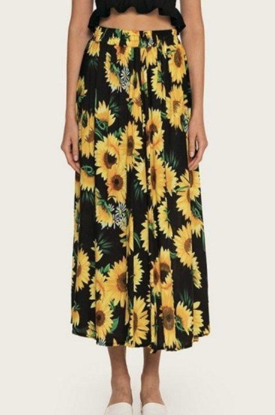 Sunflower Print Midi Skirt, Black