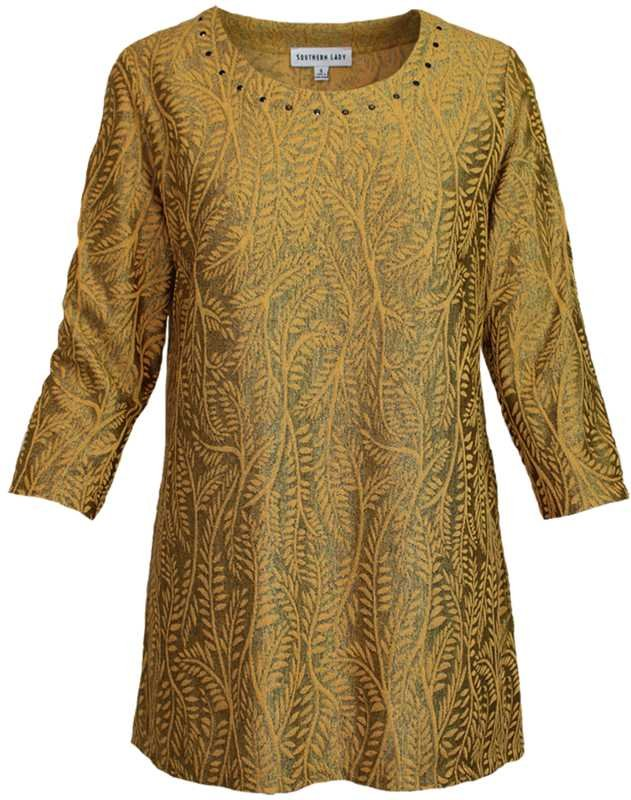 SL  Textured Print Gold Top