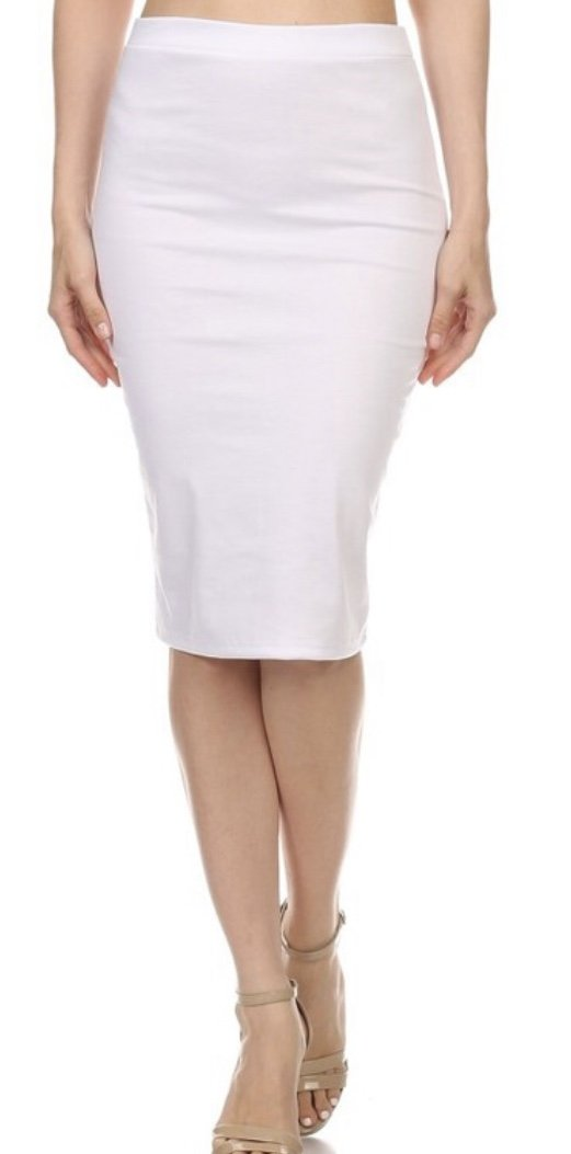 Moa Pencil Skirt, White