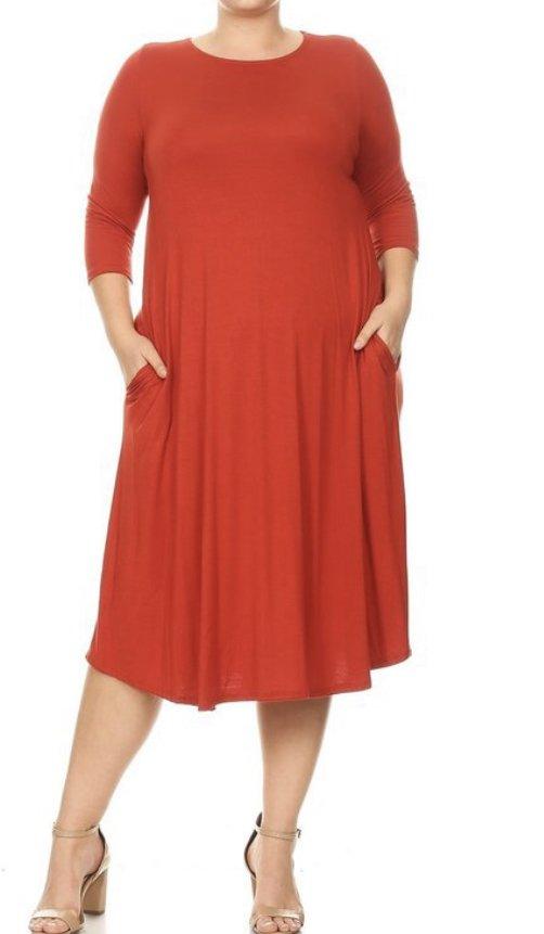 Plus Moa Rust Midi Dress w/pockets