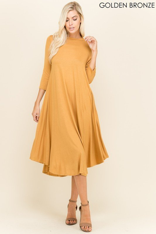 Plus Size, Flamingo Urban Swing Dress, Mustard