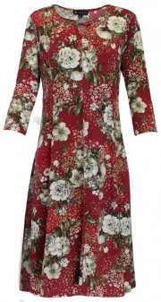 N Touch Floral Dress Burgundy/Green