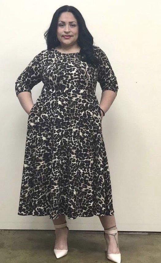 Plus Leopard Dress, Fit & Flare
