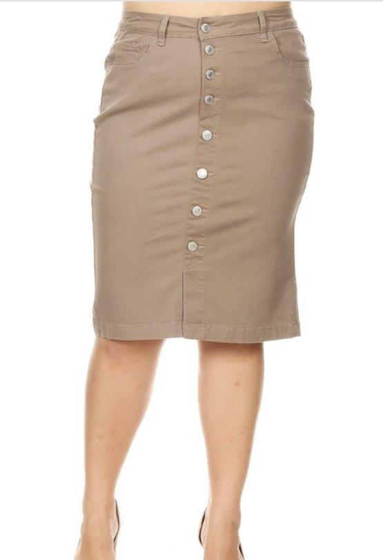 Plus Button Front Tan Skirt
