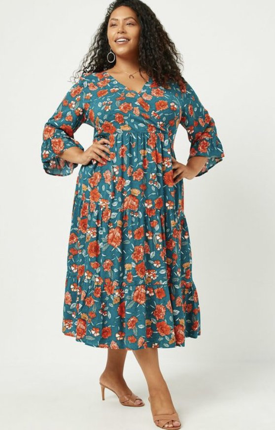 Plus Teal Floral Dress