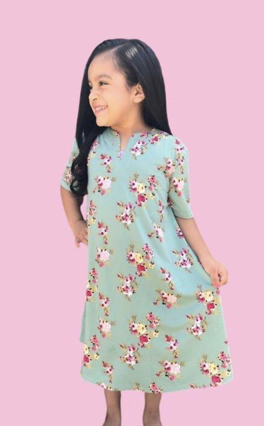 Girls Sage Floral A-line Dress