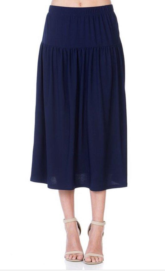 Navy Skirt with yoke and elastic waist 34