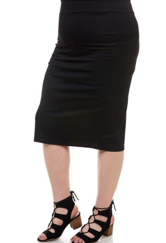 Plus Black Midi Skirt Azules