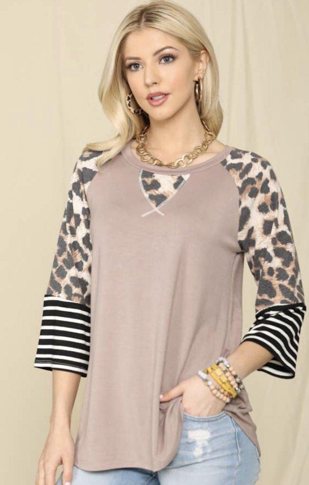 Mocha Leopard/Stripe Top
