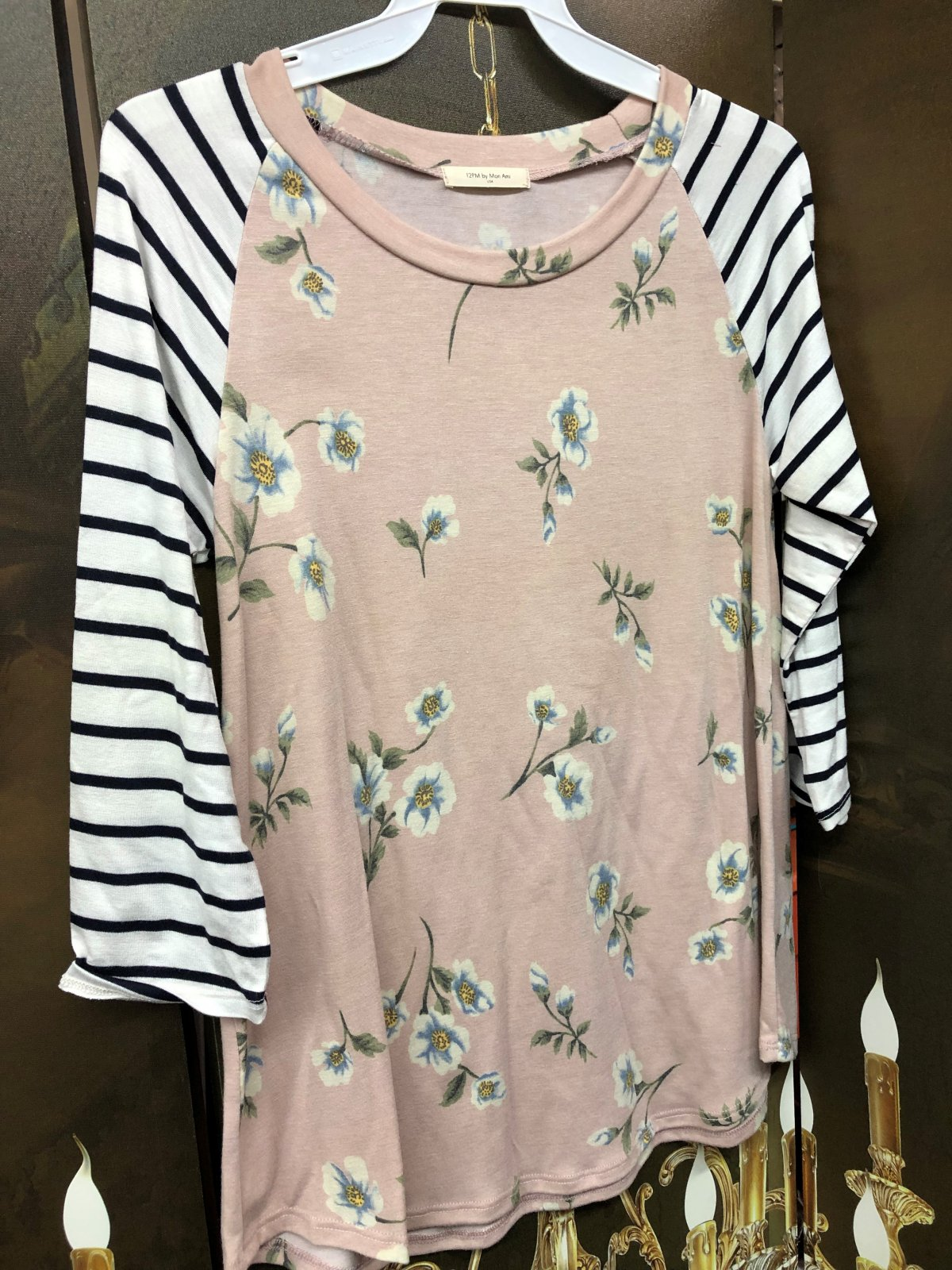 Peach Floral/stripe baseball top