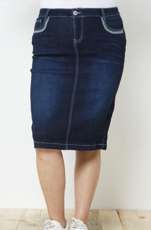 Plus Dark Wash Denim Skirt w/lace