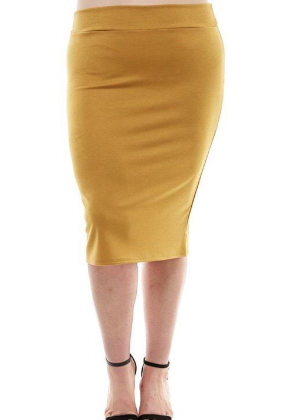 Plus Dark Mustard Skirt
