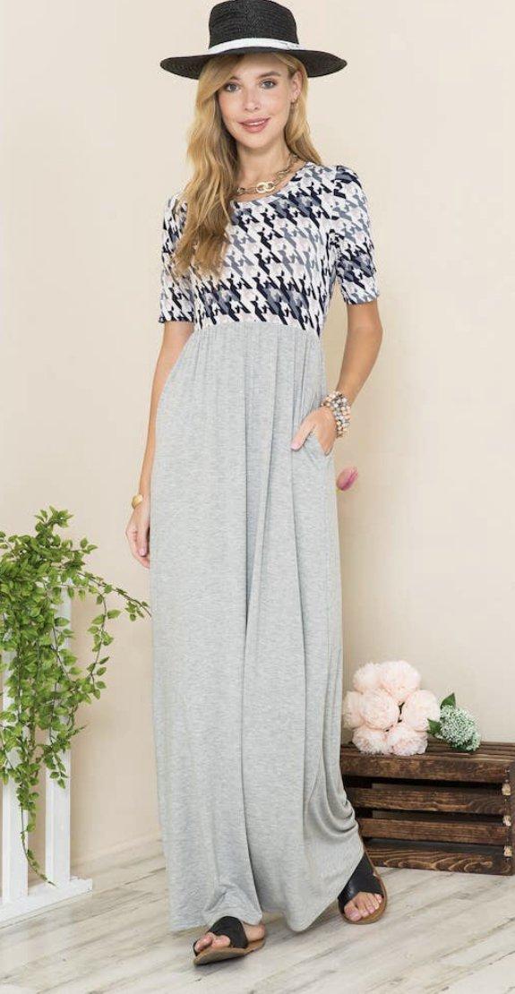 Gray/Herringbone maxi dress