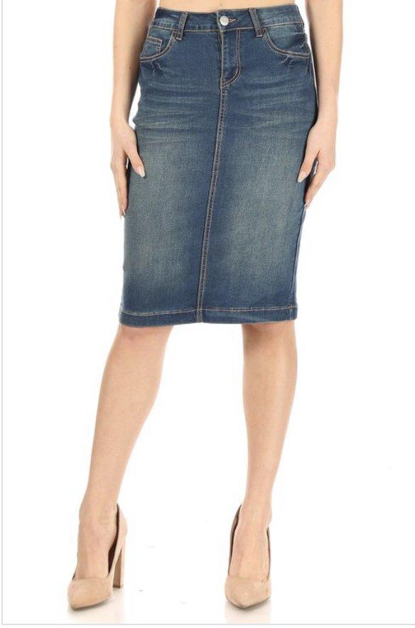 B-Girl Vintage Wash midi Skirt