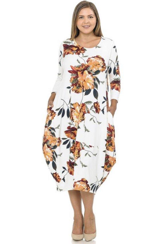 Plus Floral Ivory Bubble Dress