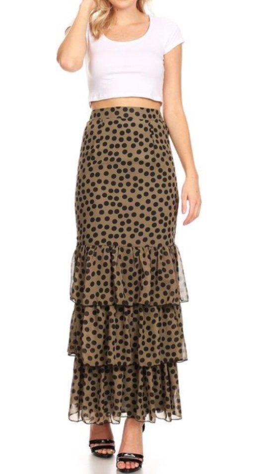 Plus Size,nWall St taupe dots ruffle hem skirt